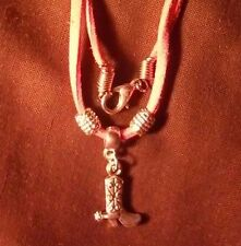 STYLISH GIRLS PINK COWGIRL BOOT LEATHER NECKLACE WESTERN HORSERIDER BARRELRACER