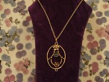 Beautiful Antique Edwardian 9CT Rose Gold, Aquamarine Gem Set Pendant & Chain