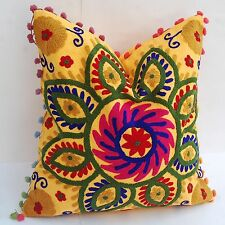 """Home Decor Floral Square Suzani Pillow Cases Embroidered Cushion Covers 16X16"""""""