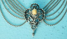 "Antique 835 Silver Hunt Necklace ""Kropfkette"" Roebuck Tooth Oak Leaves Germany"