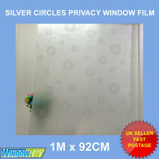 SILVER CIRCLES FROSTED DECORATIVE  WINDOW FILM - 92cm x 1m Roll S031