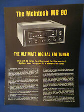 MCINTOSH MR 80 TUNER SALES BROCHURE ORIGINAL GOOD CONDITION FREE SHIPPING