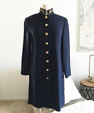 "Liz Claiborne Military Dress Petite M Shoulder Pads Navy Gold EUC 35""L Cardigan"