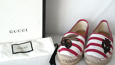 New Genuine Boxed Gucci Embroidered Bee Flower Stripe Espadrilles EU 37 FITS big