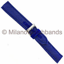 20mm Morellato Padded Stitched Kevlar Textile Insert Black and Blue Watch Band