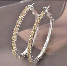 Yellow Champagne Citrine Cubic Zirconia Silver White Gold Plated Hoop Earrings
