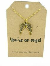 Mothers Day Gold Double Guardian Angel Wings on Card With a Quote Necklace New
