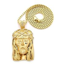 """JAY-Z & KANYE WEST JESUS FACE PIECE WITH 4mm 36"""" BOX CHAIN."""