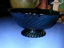 Teal Depression Glass Spiral Design Footed Bowl 4 1/4 x 10 1/2""