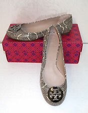 Tory Burch Reva Ballet Flat Shoes Size 8 Cobra Black Natural Leather Pewter Logo