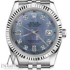 Mens Rolex 36mm Datejust Tahitian MOP Mother of Pearl 8+2 Diamond Dial RT Watch