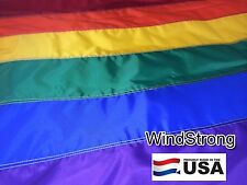 5x8 5 x 8 FT Rainbow Gay Flag Strong! Sewn Solar Nylon