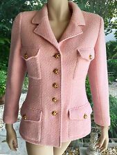 CHANEL Pink Tweed Blazer/Jacket 96A Gold Cabechon Buttons 44