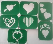 Pack of 7 HEART-2 Hearts Vinyl Tattoo  Body Art Stencils Glitter-Airbrush