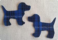 2x4in H1.Blue Multi-Tartan,Wool Fabric,Cut Out,Iron On,Applique Scottish Dogs