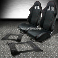 2 X BLACK SUEDE RECLINABLE RACING SEATS+BRACKET FOR 99-05 BMW E46 3-SERIES/M3