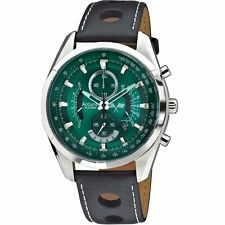 Accurist Chronograph Green Dial Black Leather Strap Gents Watch MS785E