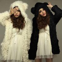 UK 8-22 Women Fleece Bear Hooded Fluffy Coat Outwear Long Jacket Trench Cardigan