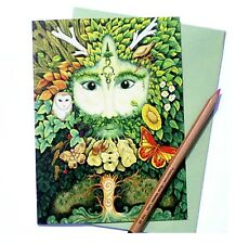 Six Green Man Yule Christmas cards Pagan Wiccan solstice