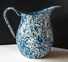 "Enamelware Pitcher Crow Canyon Home 8 3/4""2 Qt. Blue/White Kiln Fired Splatter."