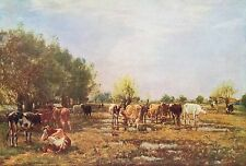 """MARK WILLIAM FISHER 1877 Oil Painting """"FEN MEADOWS"""" Vintage Classic c1930 Print"""