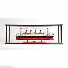 "Display Case for Model Ocean Liner 40"" Wooden Display Case for Ship Model"