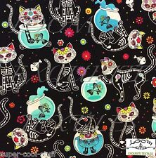 RPFFT88A Day Of The Dead Kitty Cat Fish Bowl Floral Cute Cotton Quilt Fabric