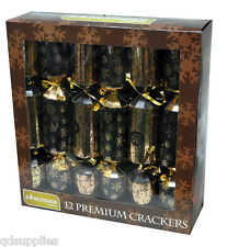 "SET 12 GIANT 14"" JUMBO PREMIER CHRISTMAS GIFT CRACKERS GOLD & BLACK DESIGN CCP4"