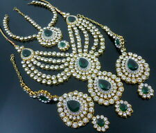 GREEN CRYSTAL CZ GOLD TONE NECKLACE SET BOLLYWOOD MATHA PATTI BRIDAL JEWELRY