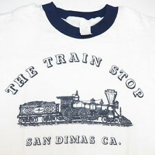 VINTAGE THE TRAIN STOP SAN DIMAS CALIFORNIA RAILWAY RINGER TEE T SHIRT Sz Mens L
