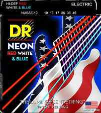 DR NUSAE-10 Neon Red White and Blue Electric Guitar Strings 10-46; USA Flag set