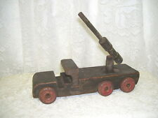 ANTIQUE TOY MILITARY TRUCK WOOD BODY W/  METAL WHEELS
