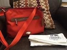 Coach Nylon Crossbody Bag.  EUC!!  Orange / Brown.