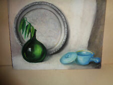 Vintage Original pastel painting still life green bottle & tray & pot signed BH