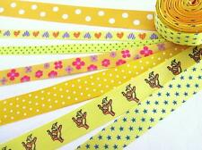 14 yards Grosgrain/Satin Polka Dots Floral Print Ribbon Mix Lot Sampler R-Yellow