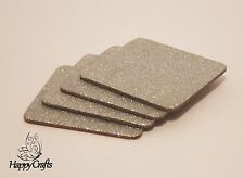 Glitter Drinks Coasters Set of 4 Silver