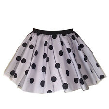 Ladies PINK POLKA DOT ROCK AND ROLL NET TUTU SKIRT FANCY DRESS COSTUME UK MADE