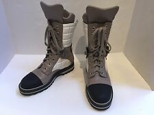 CHANEL CC Logo Winter Boots Leather Cap Toe Tan Beige Black Lace Up Size 38