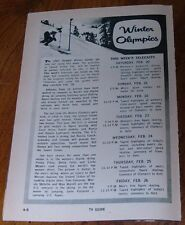 1960 TV SPORTS ARTICLE-AD~1960 WINTER OLYMPICS SQUAW VALLEY,CALIFORNIA~SKIING