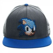 SEGA GENESIS SONIC THE HEDGEHOG PIXEL FACE LOGO DONT BLINK SNAPBACK HAT CAP NWT