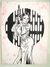 Canvas Painting Star Wars Princess Leia Pink Speckled Art 16x12 inch Acrylic