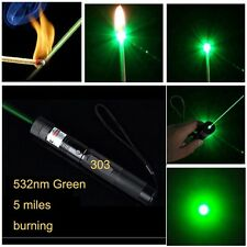 NEW 532nm Green Laser Pen Point Torch Flashlight 5Miles High Power Burning