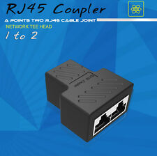 1 to 2 LAN RJ45 Network Cable Splitter Extender Plug Adapter Connector Coupler