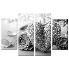Black & White Heart Love Floral Flower Rose Canvas Wall Art Picture 4 Panel Gift