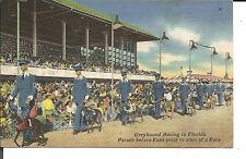 GREYHOUND RACING IN FLORIDA PARADE BEFORE FANS PRIOR TO START OF RACE 1954