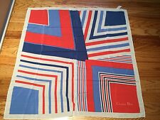 CHRISTIAN DIOR RED WHITE AND BLUE BLOCK STRIPE SCARF FRANCE