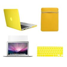"4 in1 Rubberized YELLOW Case for Macbook PRO 13"" +Keyboard Cover +LCD Screen+Bag"