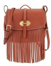 Dooney & Bourke Fringe Collection Fiona Saddle Bag Brown NWT