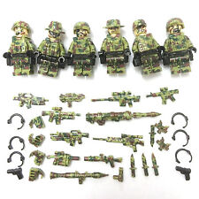 CUSTOM Camouflage Green Army Men Soldiers Troops 6 Minifigures & Lego Bricks