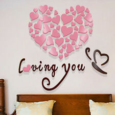Lovely Mirror Hearts Home 3D Wall Stickers Decor DIY Decal Removable